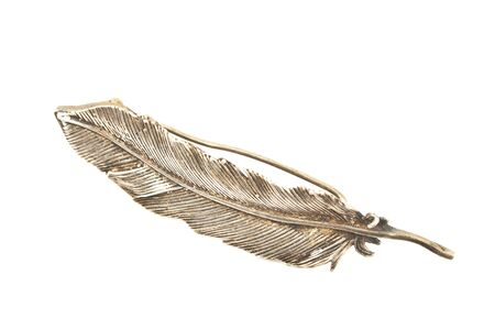 Old silver feather brooch isolated on white