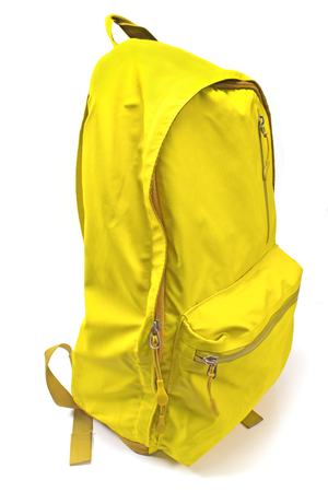 Backpack yellow isolated on white background