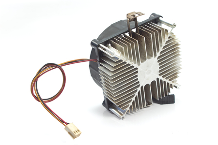 processors: Cpu cooler with heat sink isolated on white background