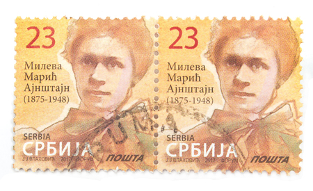 Postage stamp of Mileva Maric wife of Albert Einstein