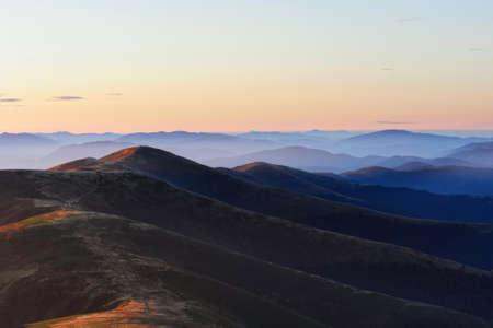 Nature of morning Carpathian mountains in Ukraine