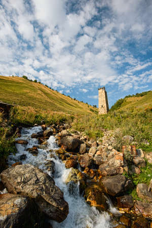 mestia: summer nature in Caucasus mountains in Georgia, Svaneti, Mestia, Adishi