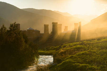 ushguli: Sunrise in the Ushguli village in the upper Svaneti region in Georgia Stock Photo