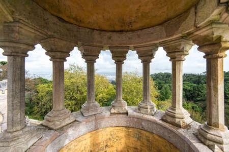 pena: stone pillars of Pena National Palace, Portugal, Sintra