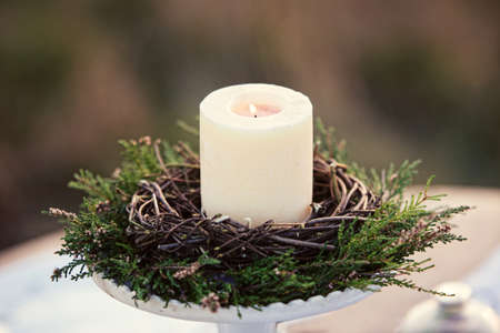 candle holder: candle holder decorated with pine branches with burning white candle on the nature background