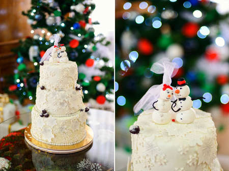 winter wedding: white cake with snowmen and snowflakes in the winter wedding