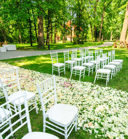 wedding chairs: White wedding chairs set up and petals on green grass before the ceremony