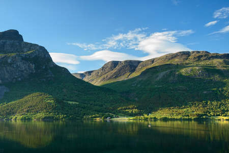 glasier: Amazing nature in Norway: mountain lake in summer day Stock Photo