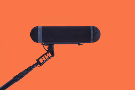 Sound recorder microphone, boom mic on red background Stok Fotoğraf - 86257094