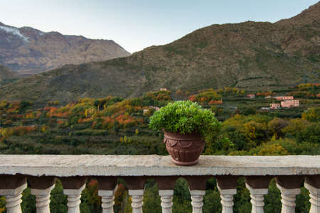Imlil village, view from hotel, Atlas mountains, Africa Stock Photo