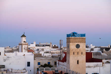 Moroccan fort city in Essaouira. Essaouira ancient building walls and fortress in Medina at sunset time Editorial