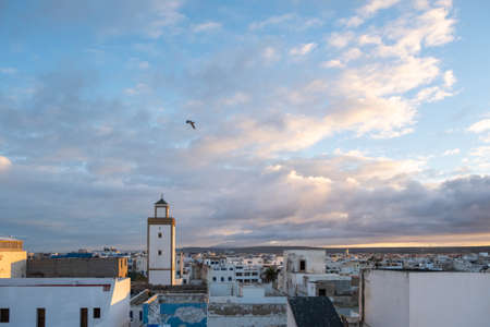 Moroccan fort city in Essaouira. Essaouira ancient building walls and fortress in Medina at sunset time Banco de Imagens
