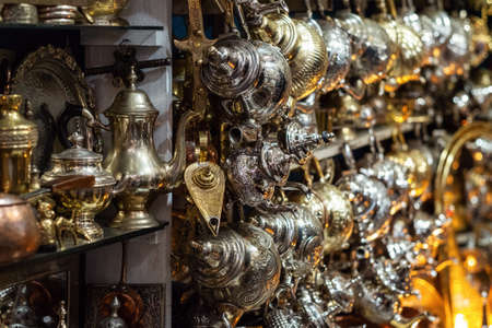 Traditional Moroccan market with souvenirs. Traditional handmade lamps
