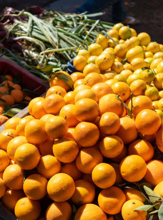 A typical market stall selling oranges to tourists in Marrakech. Traditional morocco fruits oranges in street shop souk