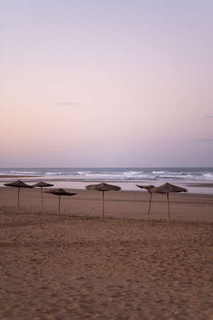Coast of Sidi Kaouki, Morocco, Africa. Sunset time. moroccos wonderfully sleepy surf town