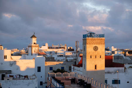 Moroccan fort city in Essaouira. Essaouira ancient building walls and fortress in Medina at sunset time Imagens