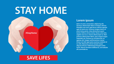Hands people protect heart. Stay home, save lives Protection campaign measure from coronavirus Social distancing concept
