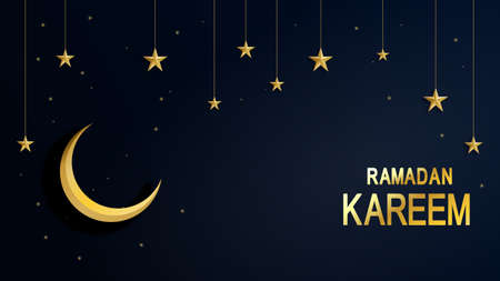 Ramadan Kareem. Night starry sky bright moon, half a month. Traditional Islamic holy holiday. Design greeting card, web banner, poster. Light. Vector background 向量圖像