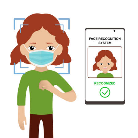 Scanning a persons face in a medical mask. Face recognition system for woman with red hair. Identification through a mobile application. Biometric Detection