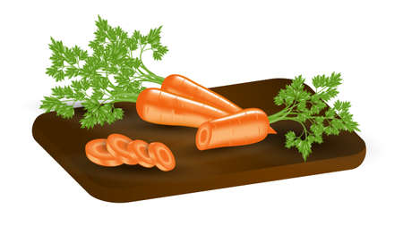 Carrots with leaves and slices on a wooden cutting board. Round carrot slices. Vector realistic illustration 3d. EPS Ilustracja