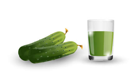 Realistic cucumber. Glass of natural freshly squeezed cucumber juice. Isolated drawing on a white background. For promotional products. Vector. EPS