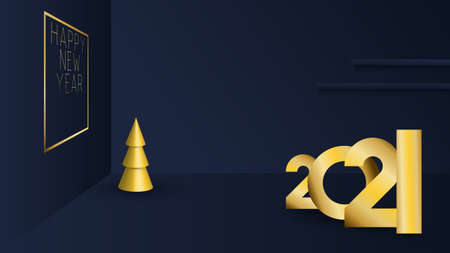 Christmas New Year. Minimal background with 3D christmas trees and picture on the wall. 2021. Realistic objects. Design Greeting card, Christmas background, poster, banner. Vector