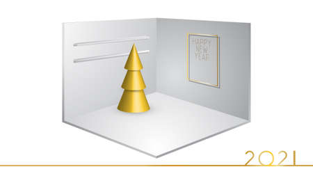 3D corner of a room or cubic box, realistic exhibition stand. Gold Christmas tree on display stand. Happy new year frame on the wall. Minimal style. Background 2021. Greeting card, poster. Vector
