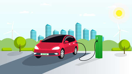 The electric car is charged in the parking lot from renewable energy sources. Green charging station for the vehicle. Smart city, green trees and bushes in the background. Vector. EPS Vecteurs