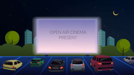 Open-air cinema for street cars. Cars watch a movie in an open parking lot at night. Large outdoor screen glows in the dark, against the backdrop of the evening city. Vector. Cartoon illustration
