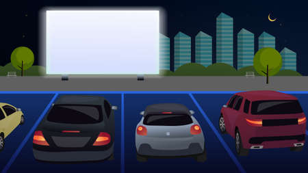 People in cars watch a movie in an open parking lot at night. Open air cinema for street cars. A movie is shown on a white screen, against the backdrop of the evening city. Vector. Cartoon