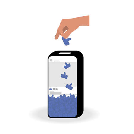 The phone in the form of a piggy bank collects likes. Hand puts the icon hand blue color with the thumb up into the money box. The concept of people dependence on social networks. Vector
