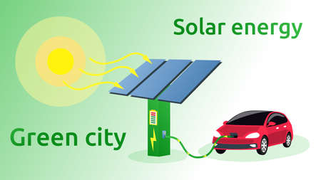 The electric vehicle is being charged from the battery. The sun shines on solar panels. Renewable energy sources in a green city. Solar energy scheme. Vector