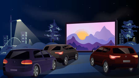 Open air cinema for street car. Cars watch a movie in an open parking lot at night. On the screen the sunrise from behind the mountains. Urban entertainment and film festival. Vector. Illustration
