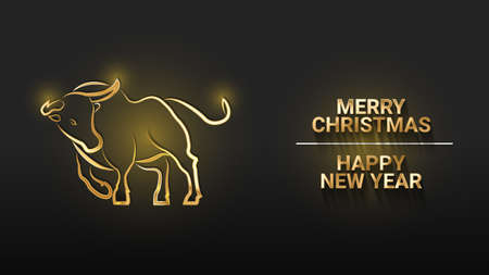 Golden metal bull on a black background. Inscription Merry Christmas and Happy New Year. Symbol of the Chinese new year 2021. 3d realistic vector