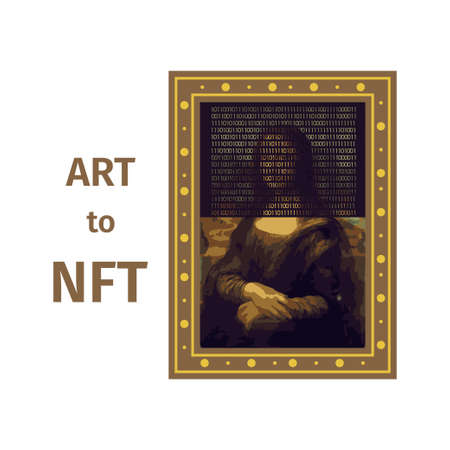 Concept of converting a work of art into a unique token. ART to NFT, non-fungible token. Mona Lisa painting is converted into a digital file. Technology. Vector Vector Illustration