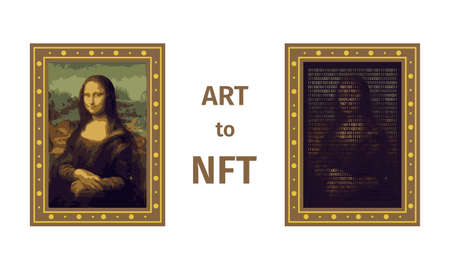 Concept of converting a work of art into a unique token. ART to NFT, non-fungible token. Mona Lisa painting is converted into a digital file. Innovation technology. Vector