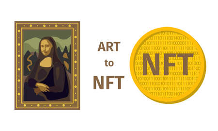 Concept of converting a work of art into a unique token. ART to NFT, non-fungible token. Mona Lisa painting is converted into a digital file. Technology. Coin. Vector Vector Illustration