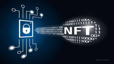 Concept digital key with text NFT, non fungible token. Cryptographic unique token. Chip data memory cell. Dark blue background. Security. Vector Vecteurs