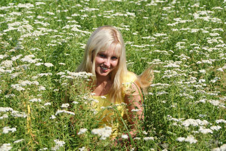 blonde on meadow, outskirts state Bryanska, july 2009. photo
