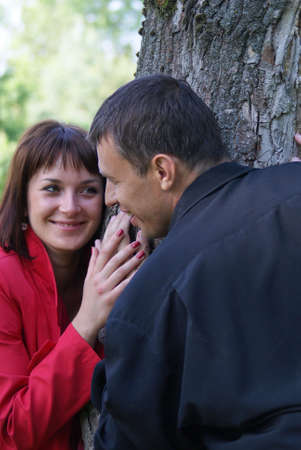 Loving couple are glad long-expected meeting. photo