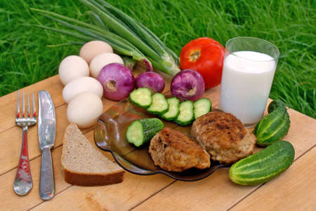 caloric:  appetizing meat cutlet and  palatable makeup vegetable -caloric food Stock Photo
