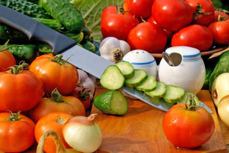 preservation: preservation appetizing summer vegetables upon fresh air-pleasant  business Stock Photo
