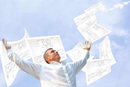 draftsman: fulfilled engineering design dispatch client under observations master designing engineer Stock Photo