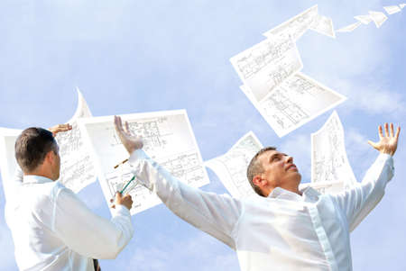 observations: fulfilled engineering design dispatch client under observations master designing engineer Stock Photo