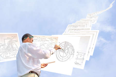 serious engineer-designing resolve compound architectural problem Stock Photo - 7580547