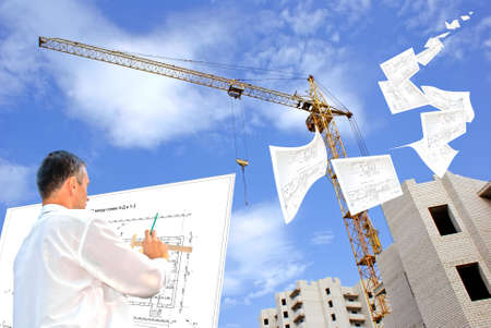 serious engineer-designing resolve compound architectural problem Stock Photo - 7580609