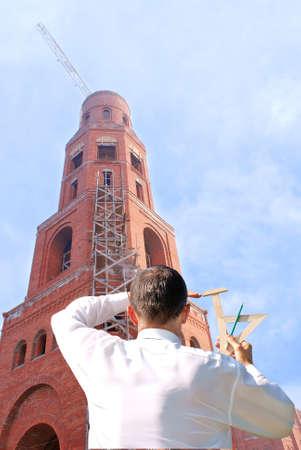 ecclesiastical: architecture designing orthodox parochial temple construct for conduct public liturgy Stock Photo