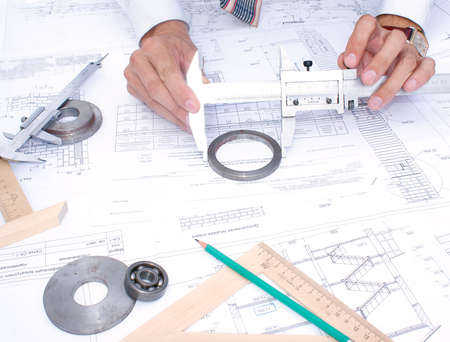 measuring instrument assign for part sensing and size process surface  Stock Photo