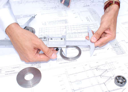 assign: measuring instrument assign for part sensing and size process surface  Stock Photo