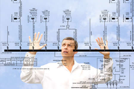 professional engineer designer admiring size generate electric fundamental scheme Stock Photo